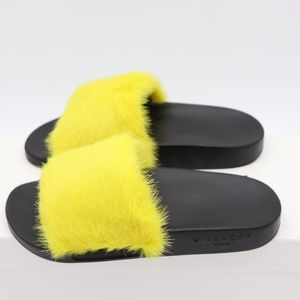 4e469f0085fe Givenchy Shoes - GIVENCHY Yellow Mink Fur Slide Sandals Flats